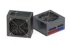 Zwei schwarze Computer Stromversorgungs-Einheiten Stockfotografie