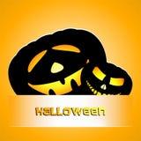 Zwei schwarze lachende Kürbise für den Halloween-Streifen auf einem orange Hintergrund vektor abbildung