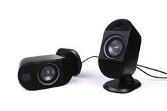 Zwei schwarze Lautsprecher Stockbild