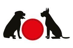 Zwei schwarze Vektorschattenbilder von sitzenden Hunden nahe rotem Retro- Kreis lizenzfreie abbildung