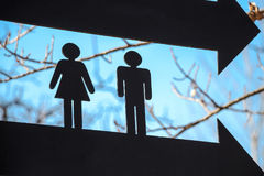 Zwei schwarze Zahlen Toilettenzeichen Lizenzfreie Stockfotografie