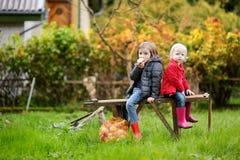 Zwei Schwestern, die auf einer Holzbank auf Herbst sitzen Lizenzfreie Stockfotografie