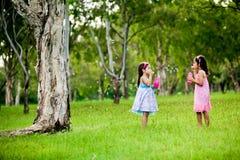 Zwei Schwestern, die Luftblasen in einem Park durchbrennen lizenzfreie stockfotografie