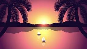 Zwei Segelboote auf einem ruhigen See mit Palmen bei Sonnenaufgang stock video