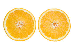 Zwei Segmente einer Orange stockfotografie