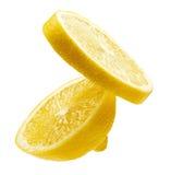Zwei Segmente einer Zitrone lizenzfreie stockfotos