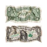 Zwei Seiten eines zerknitterten Dollars stockfoto