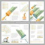 Zwei Seiten Geschäft dreifachgefaltet und Flieger Infographics-Elemente in der modernen flachen Konzeptgeschäftsart Gebrauch für  Lizenzfreies Stockbild