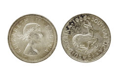 Zwei Seiten Weinlese-Verband Südafrika fünf Schillings-Münzen Stockfoto