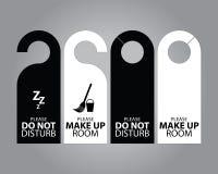 Zwei Seitenschwarzweiss-Türhänger-Tags für Raum im Hotel oder im Erholungsort Lizenzfreie Stockfotografie