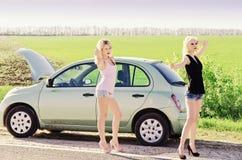 Zwei sexy blonde nahe ihrem unterbrochenen Auto stehende und per Anhalter fahrende Mädchen Lizenzfreie Stockfotografie