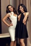Zwei sexy Mädchen, die Kleid tragen stockfoto