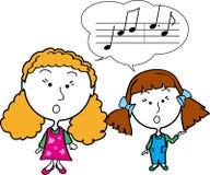 Zwei singende Mädchen Stockbilder