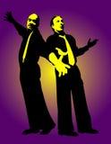 Zwei singende Mannunterhalter Lizenzfreie Stockfotos