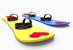 Zwei Snowboards mit Herzen Lizenzfreie Stockfotos