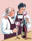 Zwei Sommeliers bedacht etwas guten Wein schmecken vektor abbildung
