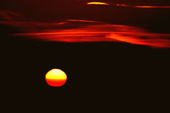 Zwei Sonnenuntergänge stockbild