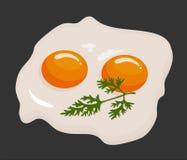Zwei Spiegeleier in einer Bratpfanne gekocht für köstliche internationale Mahlzeit des Frühstücks Selbst gemachtes Lebensmittel,  lizenzfreie abbildung