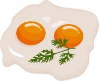 Zwei Spiegeleier in einer Bratpfanne gekocht für köstliche internationale Mahlzeit des Frühstücks Selbst gemachtes Lebensmittel,  vektor abbildung