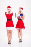 Zwei spielerische blonde Schwesterzwillinge, die unter Verwendung des Megaphons scherzen Lizenzfreies Stockfoto