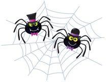 Zwei Spinnen, die Hüte auf einem Netz tragen Stockbild
