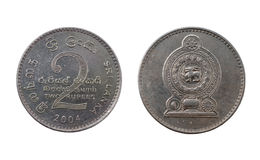Zwei Sri Lankan Rupienmünze Lizenzfreie Stockfotografie