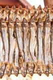 Zwei Stapel der getrockneten Fische Stockfotos