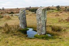 Zwei stehende Steine nahe zum Hurlerssteinkreis, Günstlinge Lizenzfreies Stockfoto