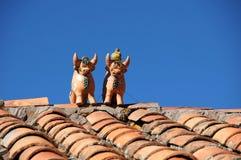 Zwei Stiere auf dem Dach - Peru South America stockbild