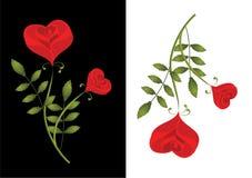 Zwei stilisiert rote Rosen. Karte lizenzfreie abbildung