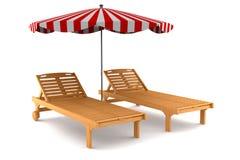 Zwei Strandstühle und -regenschirm getrennt auf Weiß vektor abbildung