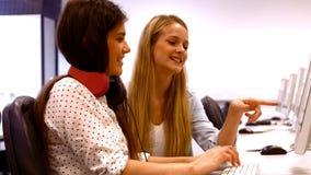 Zwei Studenten, die an Computern arbeiten stock video