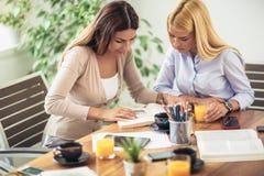 Zwei Studenten, die zusammen Hausarbeit tun und sich helfen Lizenzfreie Stockfotos