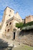 Zwei Türme des mittelalterlichen Schlosses in Monselice durch die Hügel im Venetien (Italien) Stockfotografie