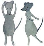Zwei tanzende Karikaturratten auf einem weißen Hintergrund Aquarellillustration für Entwurf von Plakaten, Drucke, Karten, Zeitsch stockbild