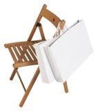 Zwei Taschen für den Einkauf auf dem Stuhl lokalisiert auf weißem Hintergrund Lizenzfreies Stockbild