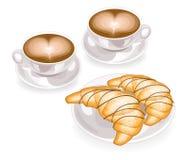 Zwei Tasse Kaffees mit Schaum in Form des Herzens und des frischen Hörnchens auf einer Platte mit Schokolade Klassischer französi lizenzfreie abbildung