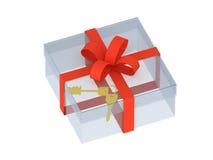 Zwei Tasten in einem Geschenkkasten Lizenzfreies Stockbild