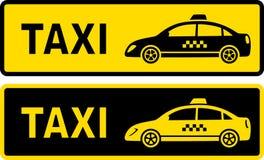 Zwei Taxizeichen Stockfoto