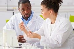 Zwei Techniker, die im Labor arbeiten Stockbild