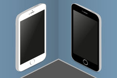 Zwei Telefone in den verschiedenen Farben auf den Wandbehanganschlagtafeln Lizenzfreies Stockbild