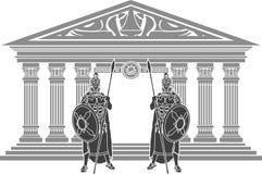 Zwei Titanen und Tempel Atlantis Stockfotografie