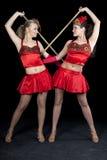 Zwei Tänzer im roten Kleid Stockfotografie