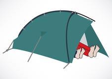 Zwei Touristen, die in einem Zelt stillstehen Lizenzfreies Stockfoto