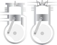 Zwei und vier Anschlagmotorentwürfe vektor abbildung