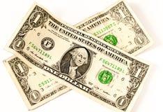 Zwei USA-Dollar in einer Querform Stockbild