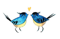 Zwei Vögel in der Liebe Stockfotos