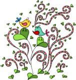 Zwei Vögel in der Liebe auf abstraktem Baum mit Herzen treiben Blätter stock abbildung