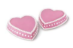 Zwei Valentinsgrußkuchen stockfotos