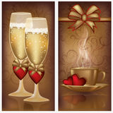 Zwei Valentinsgrußtagesfahnen Lizenzfreies Stockfoto